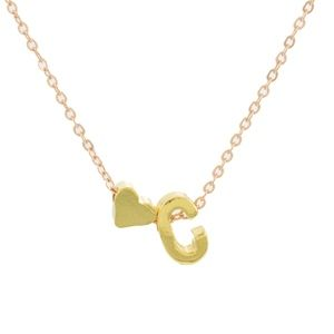 Jewelry - Dainty Gold C Initial Heart Charm Necklace